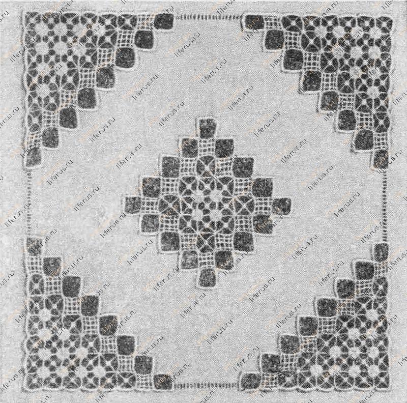 Узор вышивки рассыпным гипюром
