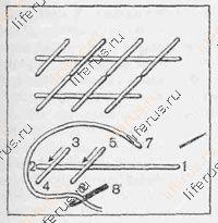 Россыпь или полукрест (двусторонний шов)